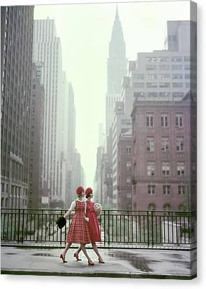 Red Dress Canvas Print - Models In New York City by Sante Forlano
