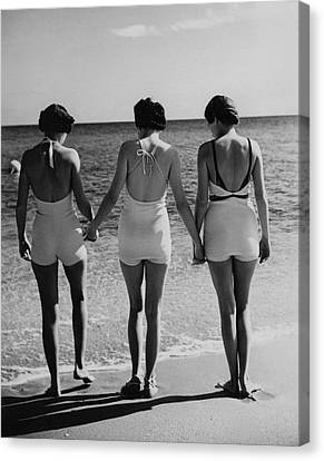 Models On A Beach Canvas Print