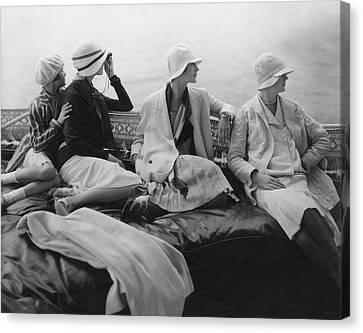 Models On A Yacht Canvas Print by Edward Steichen