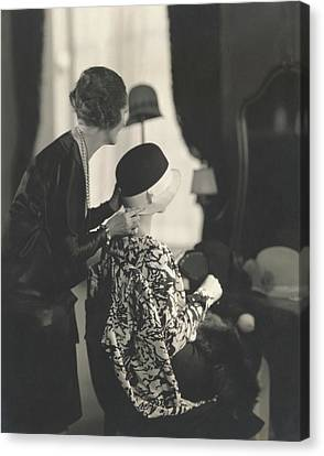 Cloche Hat Canvas Print - Models Trying On Hats by Edward Steichen