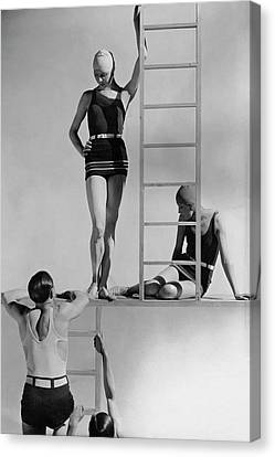 Clothing Canvas Print - Models Wearing Bathing Suits by George Hoyningen-Huene