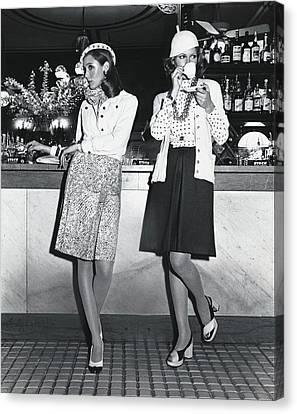 Cloche Hat Canvas Print - Models Wearing Cloche Hats At A Bar by Kourken Pakchanian