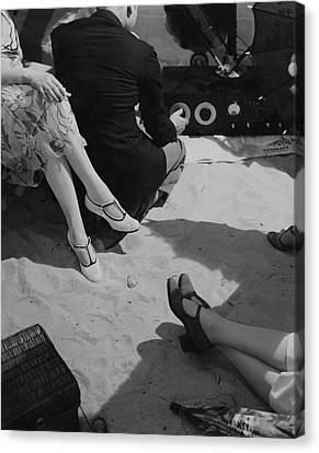 Models Wearing Crocheted Shoes Canvas Print by Edward Steichen