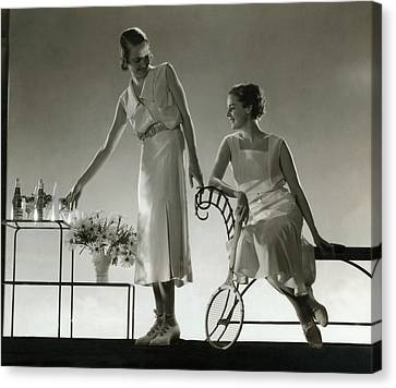 Glass Bottle Canvas Print - Models Wearing Dresses by Edward Steichen