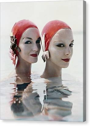 Models Wearing Pink Bathing Caps Canvas Print