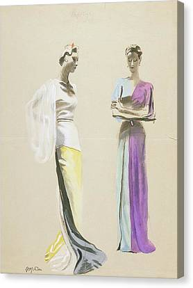 Models Wearing Satin Evening Gowns Canvas Print by R.S. Grafstrom