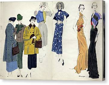 January Canvas Print - Models Wearing Schiaparelli by Pierre Mourgue