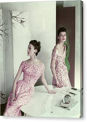 Pink Lipstick Canvas Print - Models Wearing Silk Surah Dresses by Frances McLaughlin-Gill