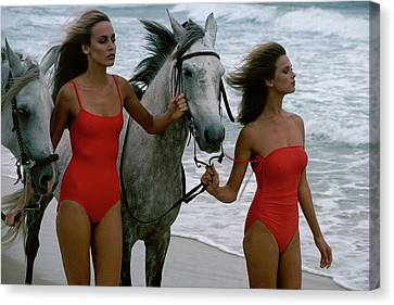 Windswept Canvas Print - Models With Horses On A Beach by Stan Malinowski