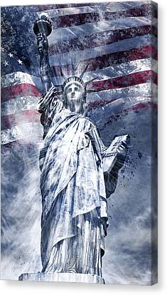 Patriotism Canvas Print - Modern Art Statue Of Liberty Blue by Melanie Viola