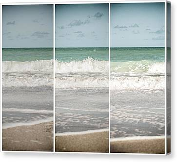 Modern Beach Tryptych Canvas Print by Lisa Russo