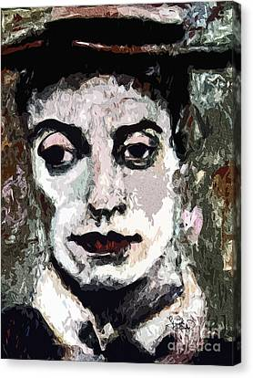Face Canvas Print - Modern Buster Keaton The Great Stone Face by Ginette Callaway