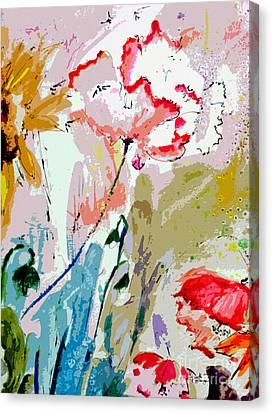 Modern Decorative Expressive Flowers Canvas Print