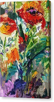 Modern Expressive Red Poppies Wildflowers Canvas Print