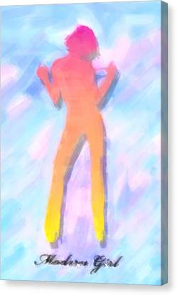 Full-length Portrait Canvas Print - Modern Girl In Abstract Oil by Tommytechno Sweden