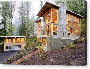 Modern House In Woods Canvas Print by Will Austin