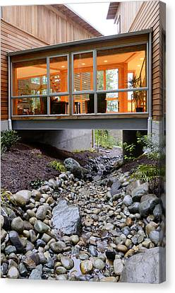 Modern House Over Rocky Creek Canvas Print by Will Austin