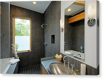 Modern Shower And Sink Canvas Print by Will Austin
