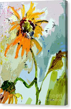 Modern Sunflowers And Bees Art Canvas Print