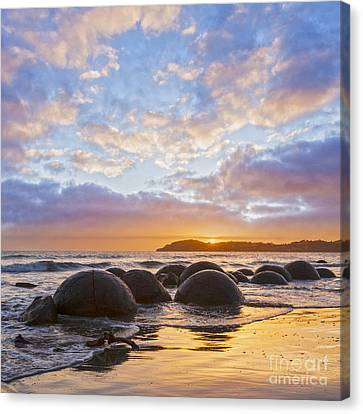 Moeraki Boulders Otago New Zealand Sunrise Canvas Print by Colin and Linda McKie