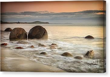 Moeraki Sunrise Canvas Print by Colin and Linda McKie