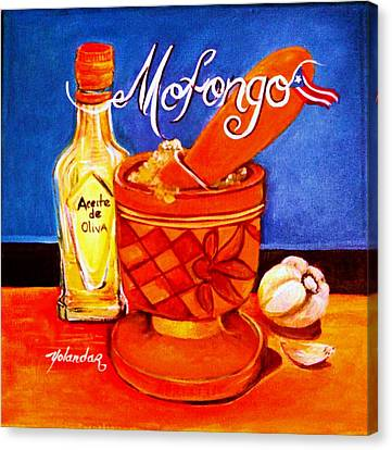 Canvas Print featuring the painting Mofongo En El Pilon  by Yolanda Rodriguez