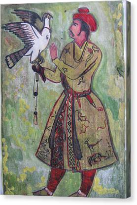 Canvas Print featuring the painting Moghul With Eagle by Vikram Singh