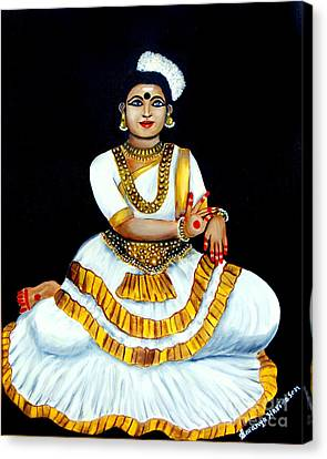 Canvas Print featuring the painting Mohiniyattam by Saranya Haridasan