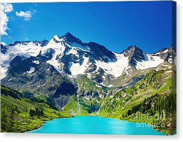 Mointain And Lake Beautiful Canvas Print by Boon Mee