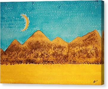 Mojave Moonrise Original Painting Canvas Print by Sol Luckman
