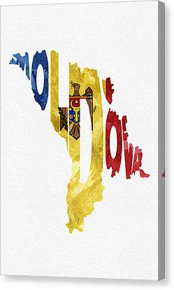 Moldova Typographic Map Flag Canvas Print by Ayse Deniz