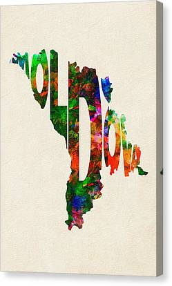 Moldova Typographic Watercolor Map Canvas Print by Ayse Deniz