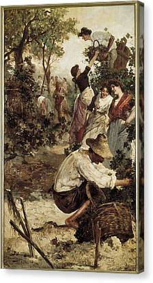 Women With Wine Canvas Print - Moles, M.f. Second Half 19th by Everett