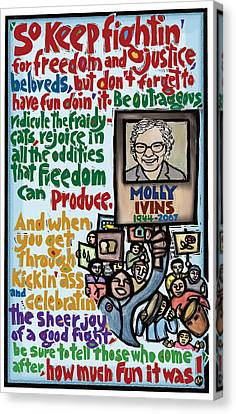 Celebrating Freedom Canvas Print - Molly Ivins by Ricardo Levins Morales