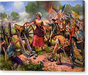 Molly Pitcher Firing Cannon At Battle Of Monmouth Canvas Print by Percy Moran