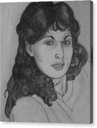 Canvas Print featuring the drawing Mom 1988 by Justin Moore