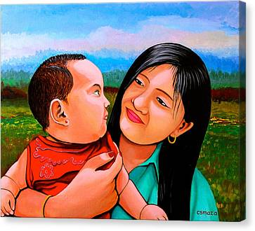 Pinoy Canvas Print - Mom And Babe by Cyril Maza