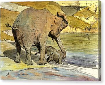Mom And Cub Elephants Having A Bath Canvas Print by Juan  Bosco