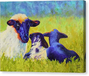 Mom And The Kids Canvas Print by Nancy Jolley