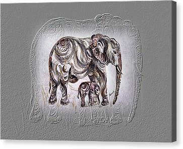 Canvas Print featuring the painting Mom Elephant by Harsh Malik