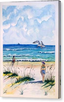 Canvas Print featuring the painting Mom Son Beach by Richard Benson