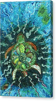 Mom There Is A Turtle In The Swimming Pool  Canvas Print by Anne-Elizabeth Whiteway