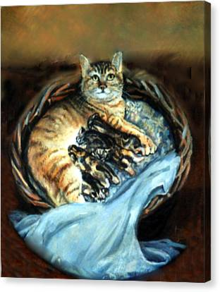 Canvas Print featuring the painting Mom With Her Kittens by Donna Tucker