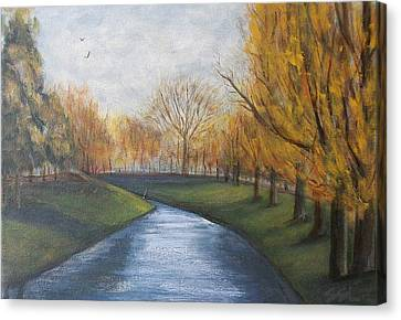 Canvas Print featuring the painting Moment Of Silence Avon River Christchurch by Jane  See