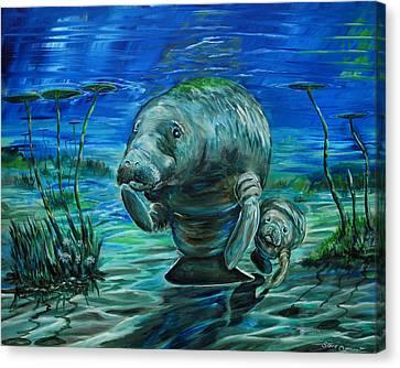 Momma Manatee Canvas Print