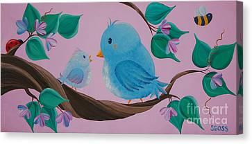 Mommy-baby Birds Canvas Print