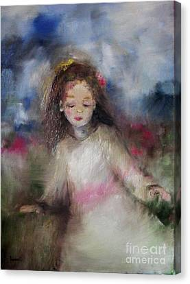 Canvas Print featuring the painting Mommy's Little Girl by Laurie Lundquist