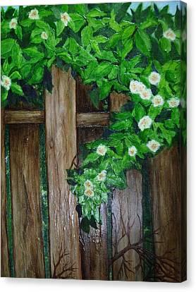 Mom's Backyard Cedar Fence Canvas Print by Jan Wendt