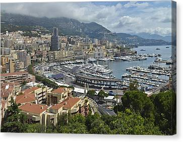 Canvas Print featuring the photograph Monaco Harbor by Allen Sheffield