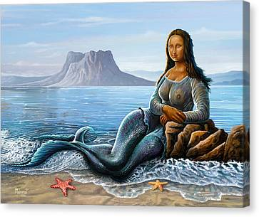 Canvas Print featuring the digital art Monalisa Mermaid by Anthony Mwangi